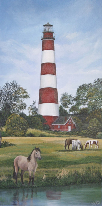 Assateague Lighthouse with Chincoteague Ponies-Print