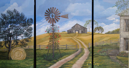 "Triptych of the Farm-  A triptych is a painting depicted on three separate canvases to be viewed together. These canvases are each finished as a wrap around canvas which means the painting continues around the edge and side of the canvas so there is no need for framing.  These three sections are hand painted on the sides which is called an enhanced giclee canvas print. They will come with hooks and wires on the back ready to hang on your wall. This farm landscape is 20"" high and a total of 36"" wide not including the space you leave between.  The center canvas is 16x20 and the two end canvases are 10x20.  These three paintings can be hung symmetrically, asymmetrically, separately or combined on a black background with a frame around them depending on your taste.  If you are interested in a frame just email for a quote. print"