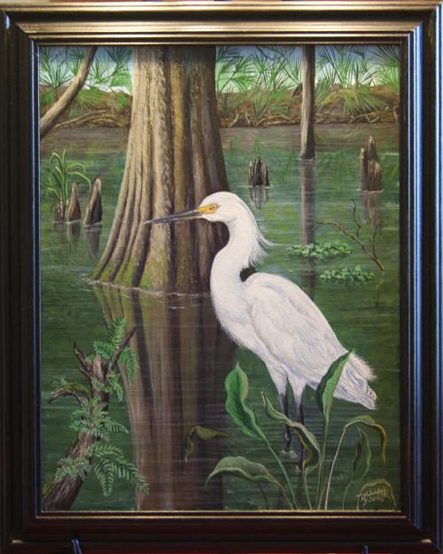 Louisiana Egret  Original  Acrylic Canvas Painting 14x18