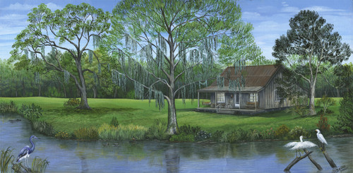 """Cabin on the Bayou"" is the painting for the fisherman who wishes he was out relaxing on the banks of the bayou."