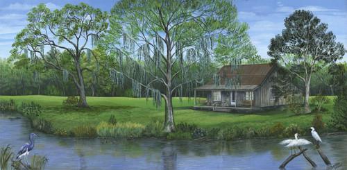 Cabin on the Bayou- canvas giclee print 12x24