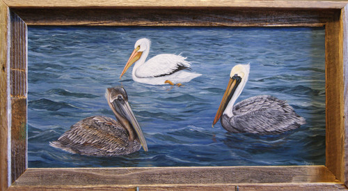 """Louisiana Pelicans Three"" is an original painting that is warm and inviting to the home of any nature lover.  Add a frame at an additional price."