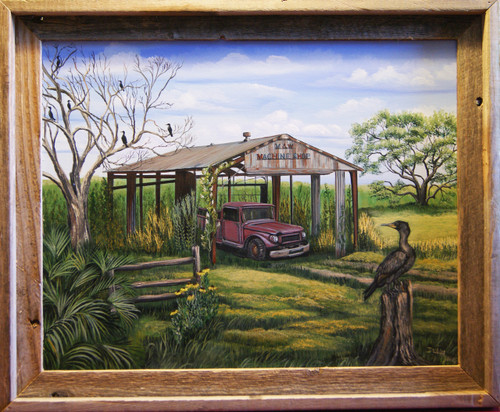 """""""Old Cameron Machine Shop,"""" is a tribute to a hurricane ridden area of Louisiana.  It's nostalgia invites you to imagine what once was before time and weather changed it's value.  The Cormorant adds mystique any southern Louisiana landscape.  An addition of a barn-siding frame to this 16x20 canvas giclee print sets the atmosphere."""