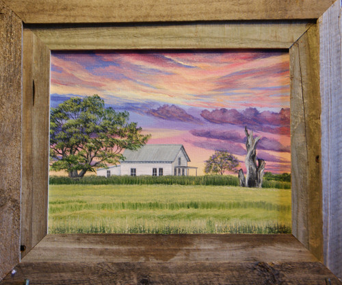 """At the End of the Day,"" is an original 11x14 landscape painting of a Louisiana rice field.  Add a barn-siding frame to set it off."