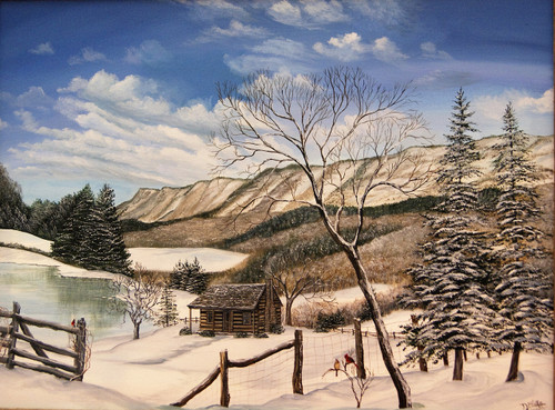 Tennessee Snowy Cabin 18x24 giclee canvas print