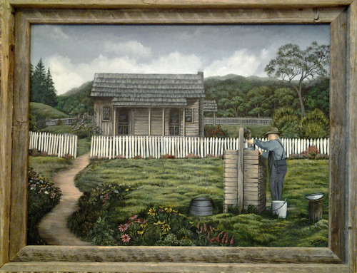 """Grandpa at the Well-  For a limited time only you can purchase a 16x20 framed """"Grandpaw at the Well"""" for 110.00 free s&h."""