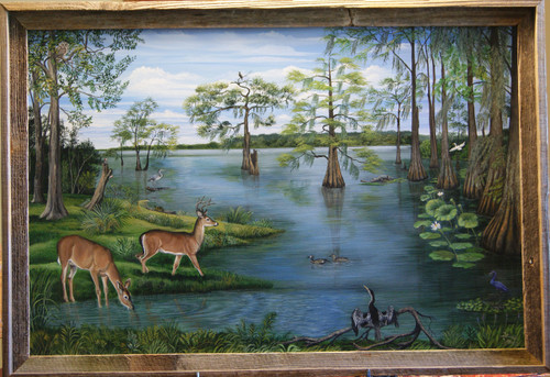 """""""As the Deer Pants for the Water,"""" so my soul pants after you, O God. Psalms 42:1 .  Sometimes on my way to work I used to see five at one time.  Deer and eleven other species can be found in this painting of a Louisiana Lake.   It also comes in two other stretched canvas giclee prints sizes  18x24 and 14x18 unframed."""