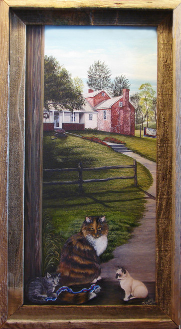 July Country Cats are a delightful way to brighten up any room with Americana decor, or maybe you just enjoy the country, the farm or feline friends.  This unframed stretched canvas giclee print is 12x24.