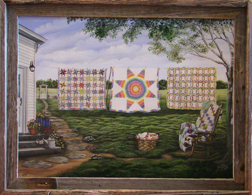 Grandmother's Legacy is now offered in a 18x24 stretched, enhanced, giclee canvas print in a barn siding frame.