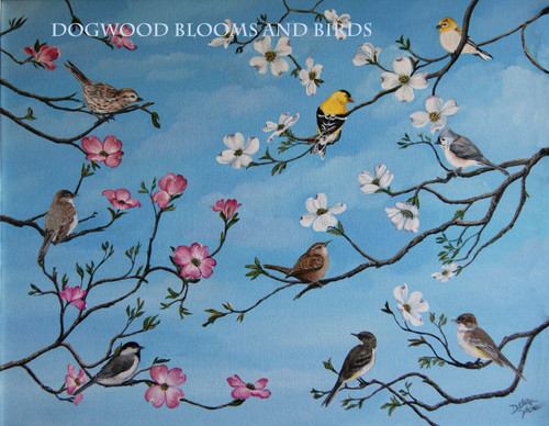 Dogwood Blooms and Birds 18x24 is a delightful Spring print that will brighten any corner.