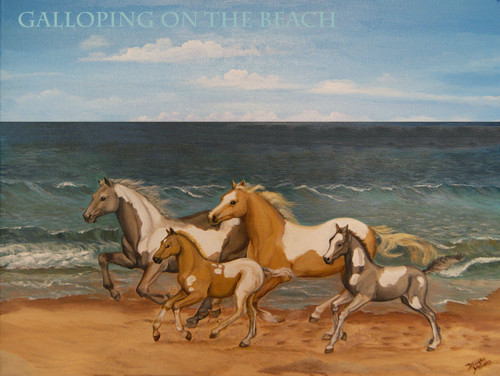 When I was a child my favorite thing to draw was horses.  Perfect for any girl's bedroom or beach themed room.