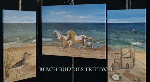 """Beach Buddies"" is a triptych that can be hung as a grouping or separately.  18x24, 12x24, 12x24"