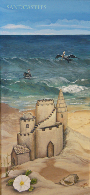 """""""Sandcastles"""" is part of a triptych but also stands alone as a fun beach themed stretched canvas print. 12x24"""