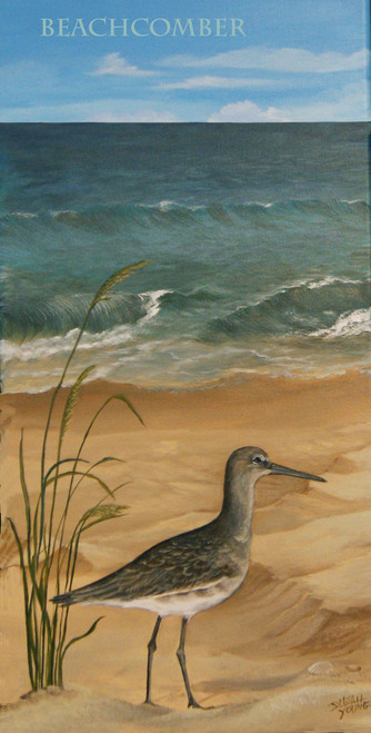 """Beachcomber"" is part of a triptych however,  the stilt sandpiper is a fun little shorebird all by itself for a beach themed room stretched canvas print. 12x24  (The watermark will be not appear on your print.)"