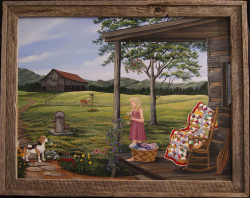 Americana personified is a little girl gathering flowers for her mamma and she has a friend helping out.. 16x20 includes a barn-siding frame.