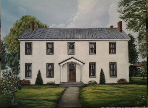 Western Boardinghouse for Augusta College early years in  a stretched canvas giclee print 12x16.