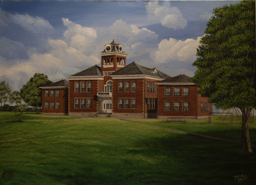 Augusta Independent School 1995, Augusta Ky. 12x16 stretched canvas giclee print...contact us for larger sizes.