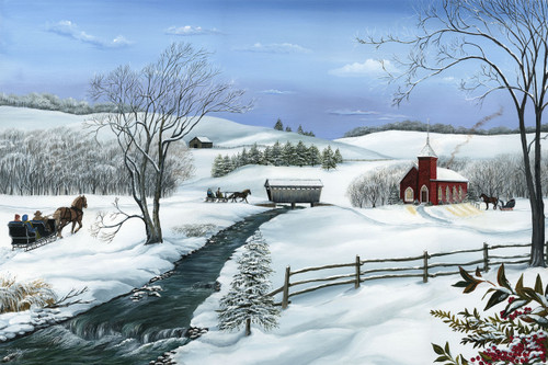 Winter Worship is a call... 'O Come all Ye Faithful' to the ole church house.  The Pastor has the light on and is stoking the old wood stove.  Framed as a stretch canvas giclee print 18x24 in a black or barn siding frame.