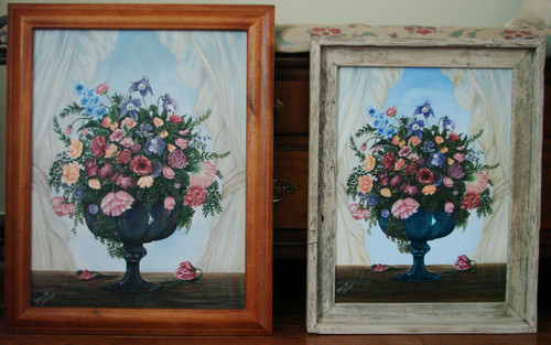 Antique Pedestal Carnival Glass and an elegant bouquet of flowers are framed out by this sheer window curtain. This painting comes as a 14x18 stretched canvas giclee for $75.00.  Pictured here is the original (sold) on the left and the canvas print on the right available also in a frame for an additional cost.  A whitewash barn siding frame adds a country flair and a traditional oak color adds s little more elegance.  Contact us for frame details.