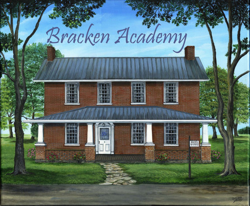 The Bracken Academy was founded in the late 1700's.  This rendition is how it was believed to look at that time located in Augusta, Kentucky.  It is offered as a 16x20 stretched canvas giclee print but can be created in a larger size and framed upon request.  If you are interested in those changes, contact us for pricing.