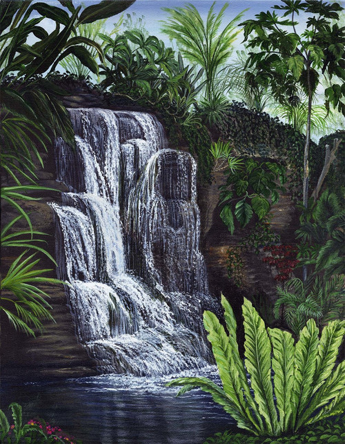 Enjoy a relaxing, cool, refreshing waterfall and bring a peaceful element to any room. 14x18 stretched canvas