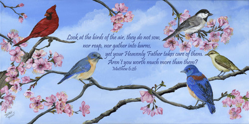 Look at the birds of the air, they do not sow, nor reap, nor gather into barns, and yet your Heavenly Father feeds them.  Are you not worth much more than they?  Matthew 6:26  This print can be displayed in a beautiful in a white wash barn siding frame 12x24 for an extra cost.  Contact us if you are interested in adding a frame.