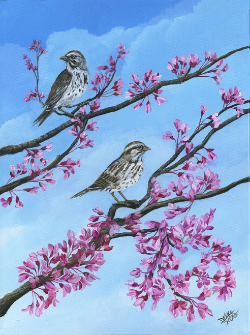 His eye is on the Sparrow and I know He watches you.  Canvas Print with Cherry blooms 14x18.