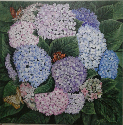 Hydrangeas and Butterflies 16x16 stretched canvas giclee print