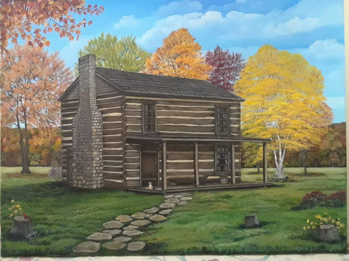 Log Cabin and Richard Schoolfiled Prepatory School, Augusta, Ky canvas print