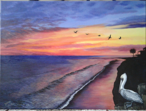 Pelican Sunset- original painting