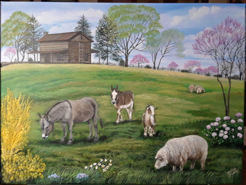 This Log cabin setting is accented sweetly with these country animal friends.