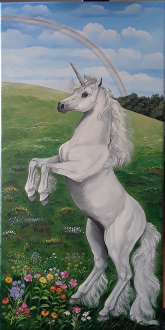 If you love horses or unicorns this is the artwork for you or for your child's room.  The animal can have the unicorn's touch...or not.  You can order it as a horse painting and it will be created without the horn. It is a stretched giclee canvas 12x24. Order now and enjoy this delightful painting in your home.  It can be framed in a whitewashed barnsiding frame for an extra 20.00, ready to hang.