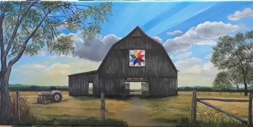 Country barn with Sun Rays- Original