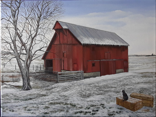 Awaiting- Red Barn in a Light Snow. Canvas print