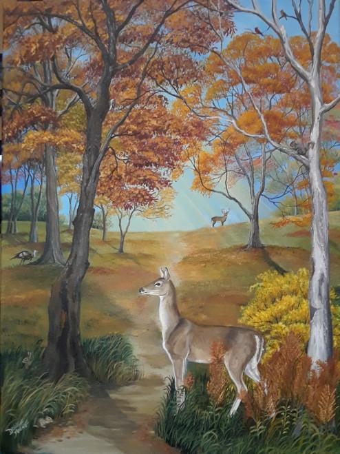 Peaceful Autumn Deer-canvas print