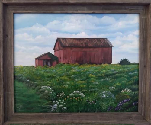 Old Red Barn on Memory Lane - original Sold