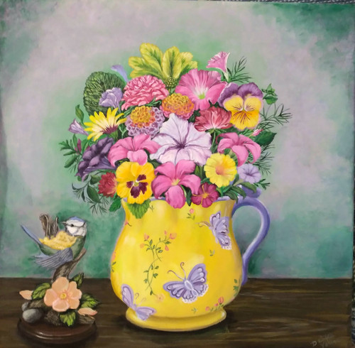 TeaCup Full of Flowers canvas print