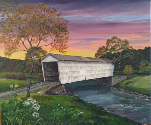 Walcott Covered Bridge Autumn Glow  canvas print
