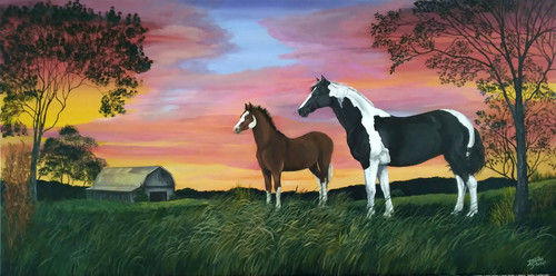 Horse and Foal on Sunset Ridge canvas print