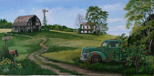 Memory Lane  and the Old Pickup Truck-canvas print