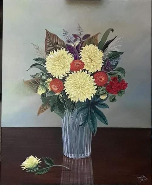 Dahlias in Crystal Vase- canvas print