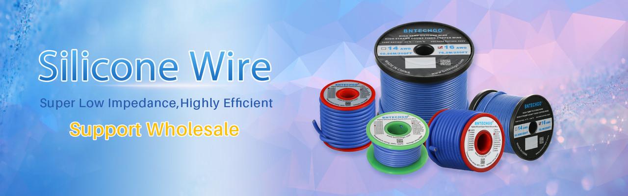 Bntechgo Calibre 8/C/âble silicone r/ésistant aux temp/ératures /élev/ées souple et flexible 8/AWG Fil de silicone 1650/brins de fil de cuivre de Tined