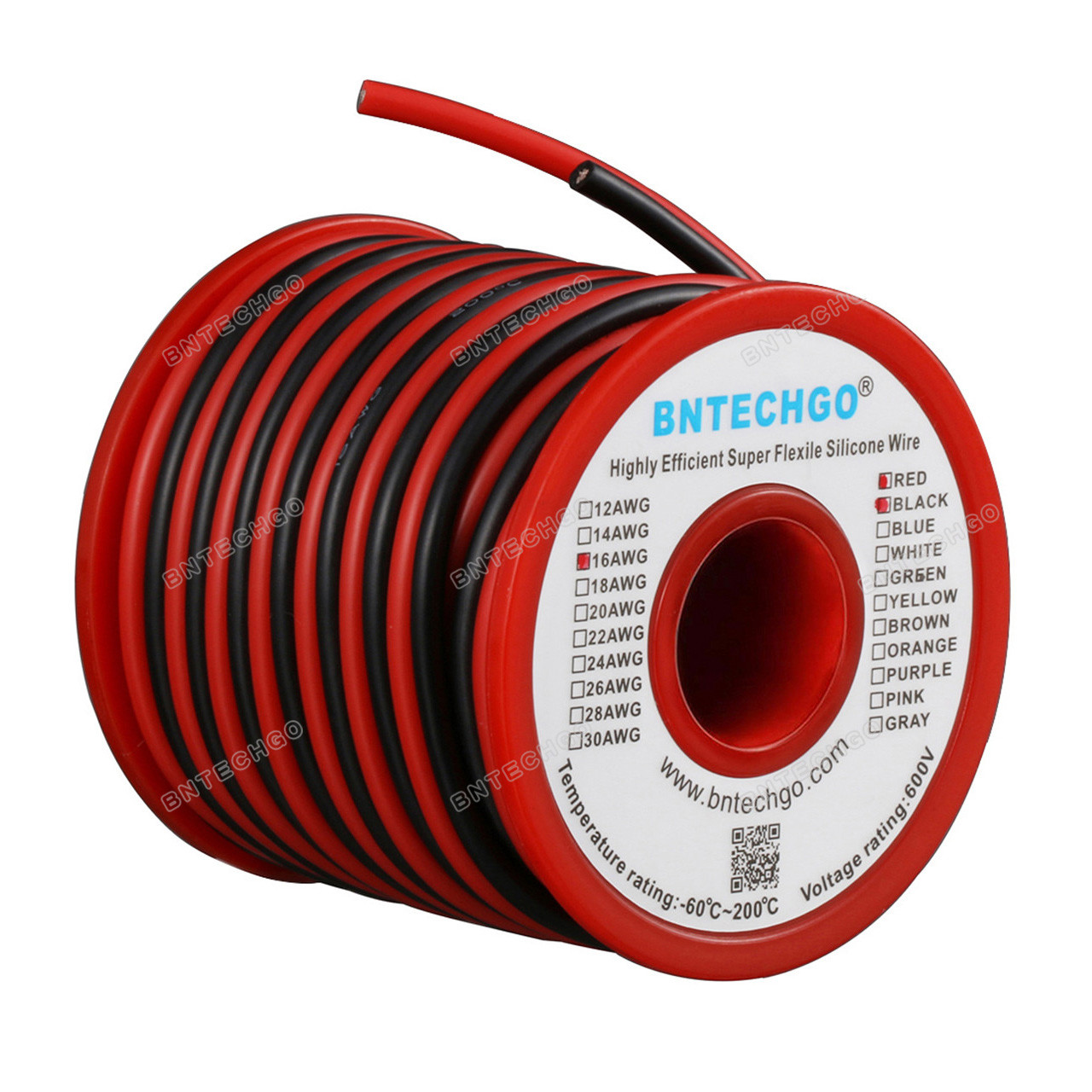 USA Made - Red//Black 16//2 AWG Duplex Flat DC Marine Wire Spool 50 ft