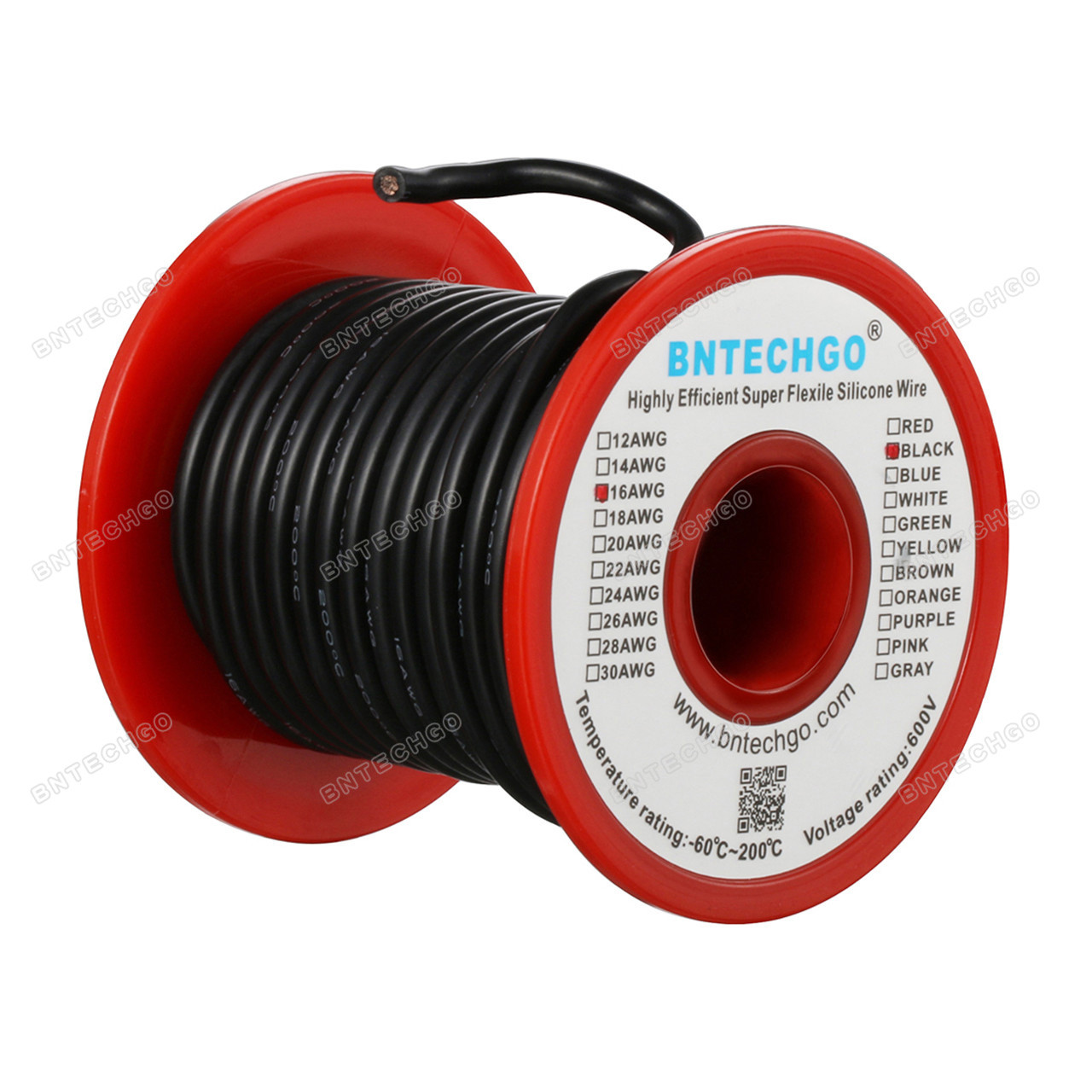BNTECHGO 16 Gauge Silicone Wire Spool Black 50 feet Ultra Flexible High  Temp 200 deg C 600V 16 AWG Silicone Rubber Wire 252 Strands of Tinned  Copper