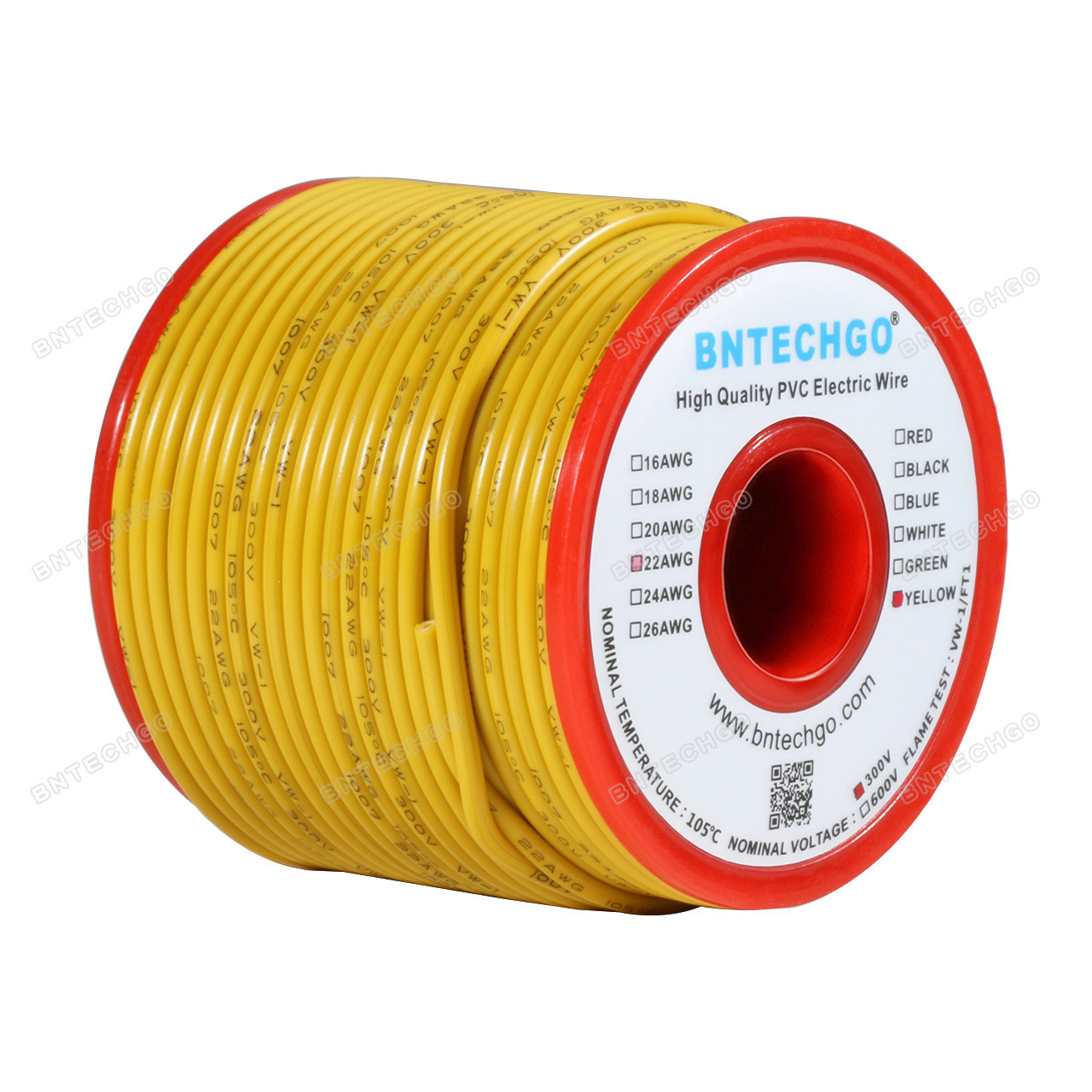 BNTECHGO 22 AWG 1007 Electric Wire 22 Gauge PVC 1007 Wire Solid Wire Hook Up Wire 300V Solid Tinned Copper Wire Green 25 ft Per Reel for DIY