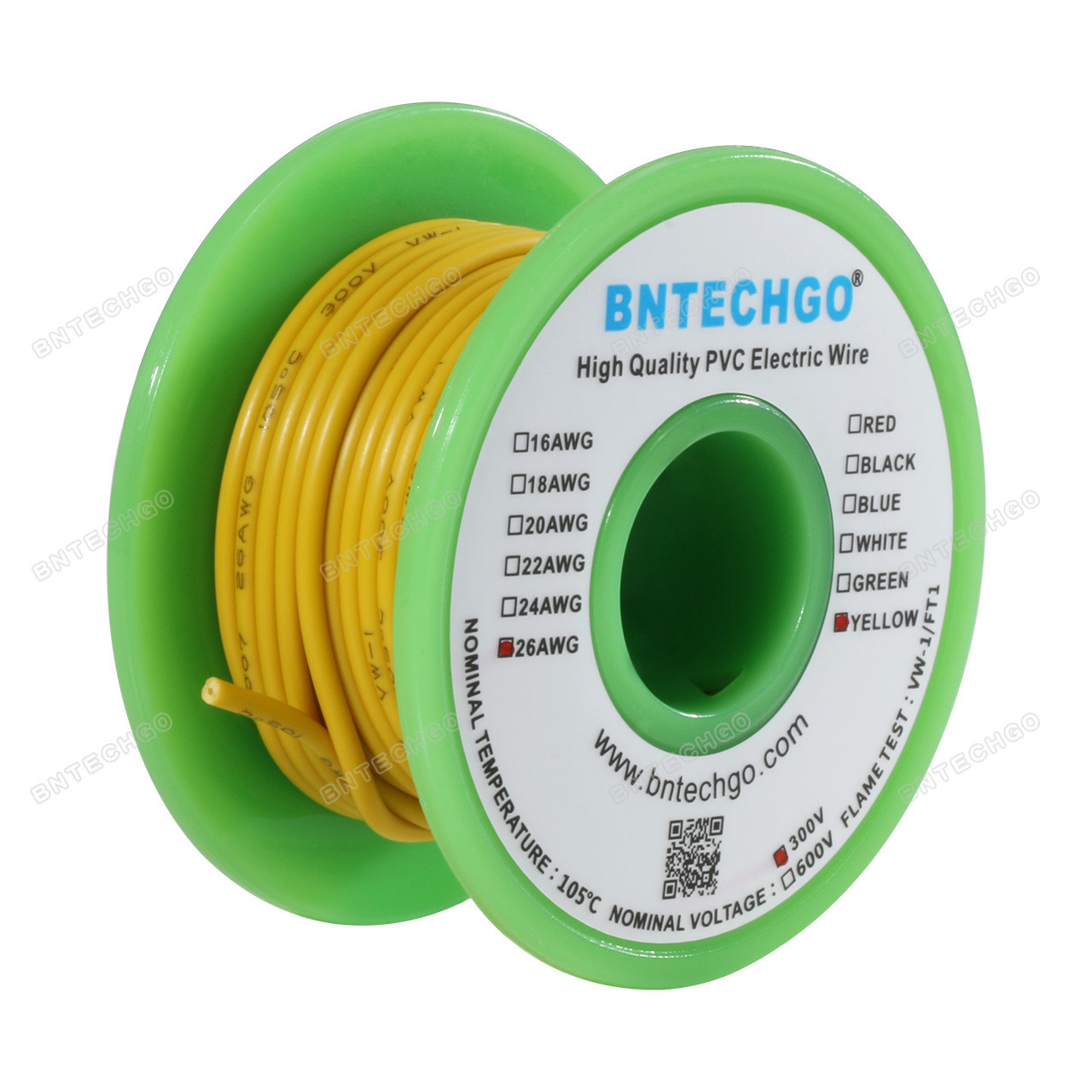 BNTECHGO 26 AWG 1007 Electric Wire 26 Gauge PVC 1007 Wire Stranded Wire Hook Up Wire 300V Stranded Tinned Copper Wire Red and Black Each Color 25 ft Per Reel for DIY