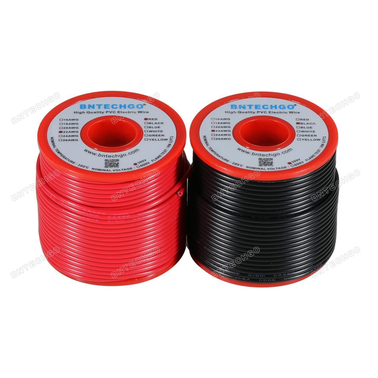 Bntechgo 22/AWG 1007/Fil /électrique Calibre 22/Fil 1007/en PVC solide Branchez Fil 300/V solide /étam/é Fil de cuivre Rouge 30,5/m par bobine pour DIY