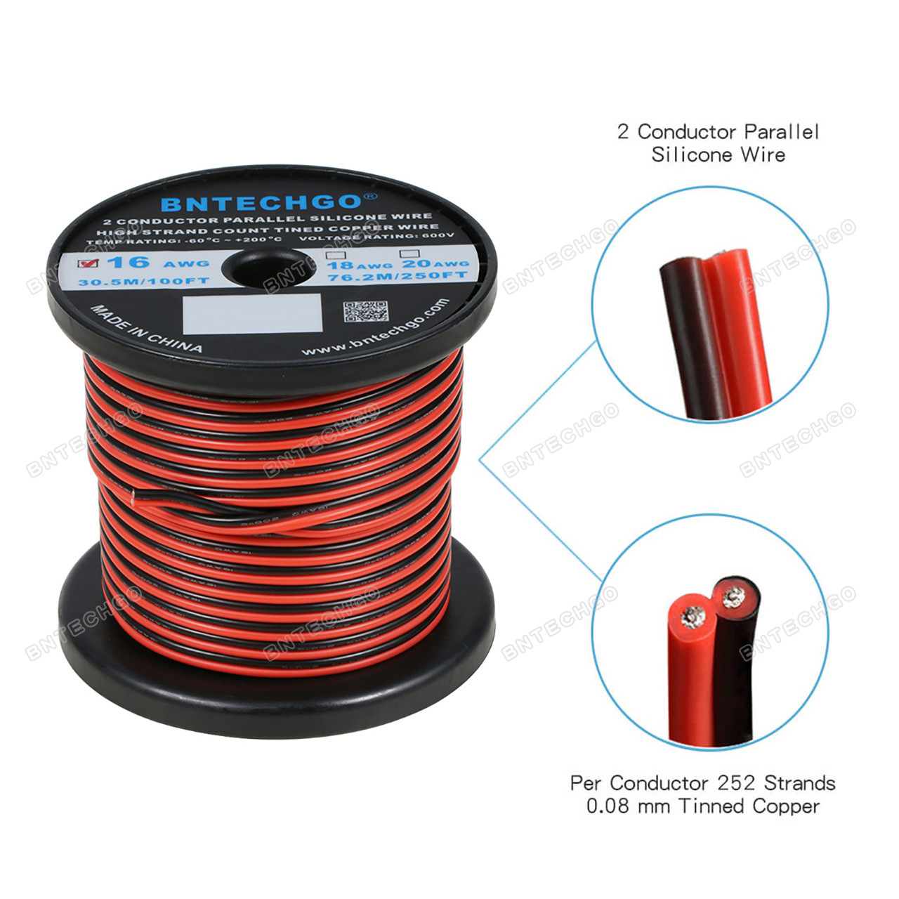 BNTECHGO 16 Gauge Silicone Wire Spool 100 ft Ultra Flexible High Temp 200 deg C 600V 16 AWG Silicone Wire 252 Strands of Tinned Copper Wire 50 ft Black and 50 ft Red Stranded Wire for Model Battery