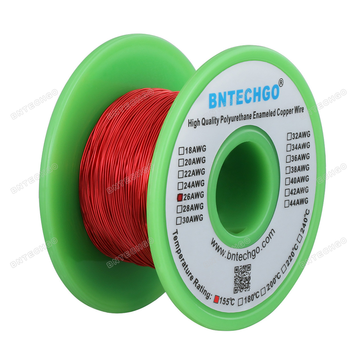 4 oz BNTECHGO 34 AWG Magnet Wire Enameled Copper Wire Enameled Magnet Winding Wire 0.0063 Diameter 1 Spool Coil Red Temperature Rating 155℃ Widely Used for Transformers Inductors