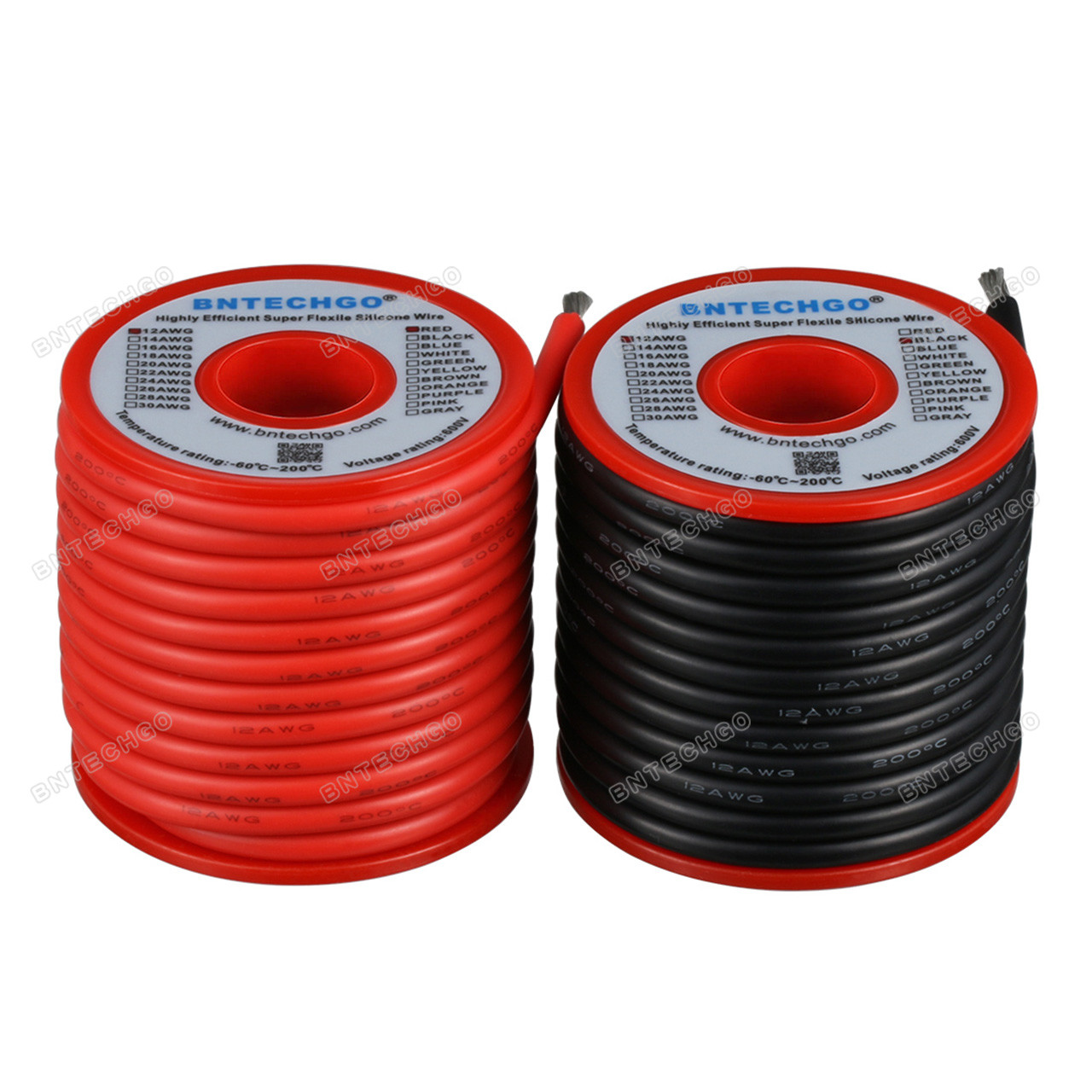 Black 6 AWG Silicone Wire Fine Strand Tinned Copper 25 ft each Red /& Yellow